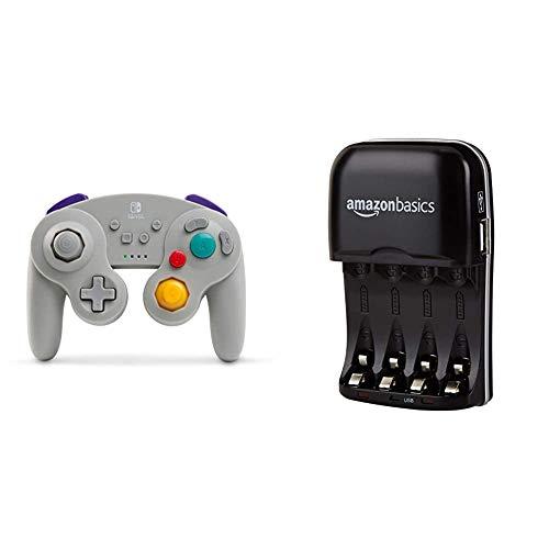 PowerA Kabelloser Controller fur Nintendo Switch GameCube Stil Grau Amazon Basics Batterieladegerat fur Ni MH AA AAA Akkus und USB Gerate