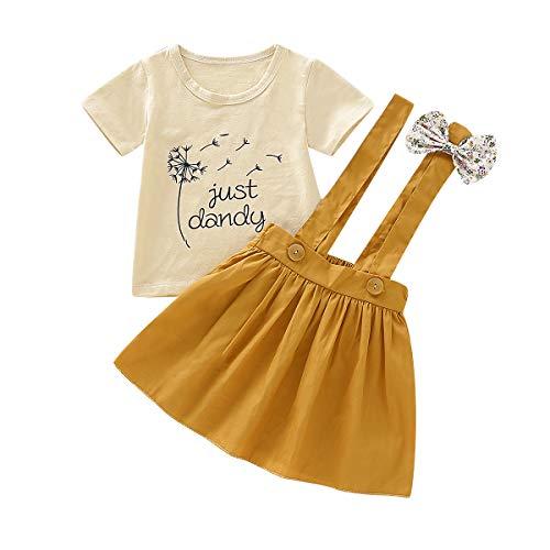 DaMohony Kinder Baby Mädchen Kleid Outfits Kurzarm Pusteblume Print Top Shirt + Strapsrock 2 Stück Sommer Mädchen Rock Outfits Kleidung Gr. 110 cm, gelb