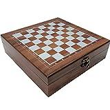 XWDQ Único 4 en 1 Conjunto de ajedrez de Madera, Tarjeta de Tarot, Dados, Conjunto de dominó, Barato y rentable, Juego Casual para Adultos, 9.4'x9.4 Regalo (marrón) Portátil
