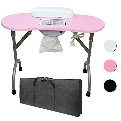 Beltom Mesa para manicura Plegable, con Aspirador, reposamuñecas y Bolsa de Transporte - 12 KG - 98 x 44 x 77 cm - Rosa