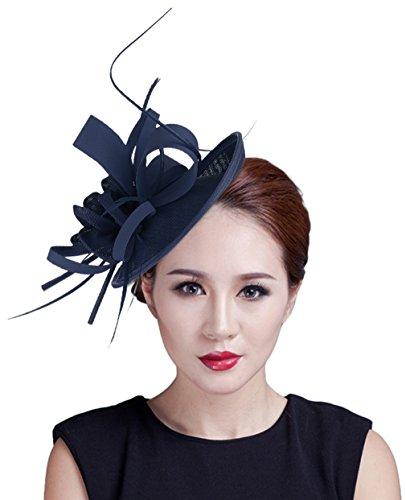 EOZY Mujer Tocado de Pelo Sombrero Vintage Azul marino