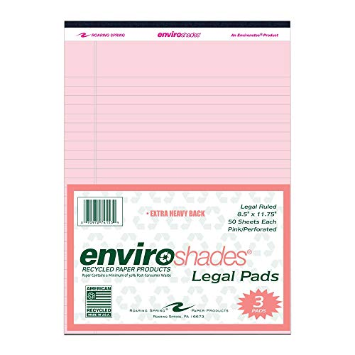 """Roaring Spring Enviroshades 8.5"""" x 11.75"""", 50 sheets of 16# Recycled Pink Legal Pads, 3/pack Photo #4"""
