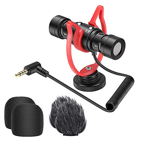 Neewer Microfono Universale per Video, Esterno Microfono a Doppia Testina per Fotocamera Vlog con Supporto Anti-vibrazione & Cappuccio Peloso, Adatto a iPhone Android Smartphone DSLR Canon Nikon ecc.