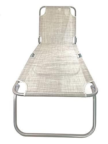 Vetrineinrete® Lettino mare 3 regolazione pieghevole prendisole con manici per il trasporto in alluminio e textilene 79295 (Blue)