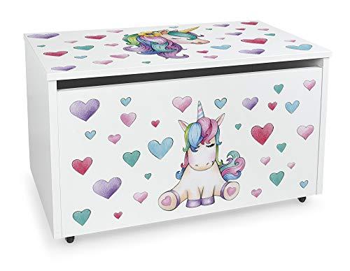 LEOMARK Blanco Caja de madera banco XXL con almacenamiento para juguetes con Asiento, Baúl de juguetes sobre ruedas, Dim: 71 cm x 40.5 cm x 45 cm/WxDxH/ (Unicornio)