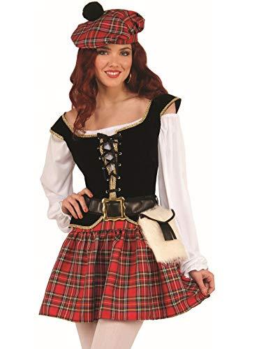 shoperama Freche Schottin Damen-Kostüm Schotten-Rock Bluse Weste Mütze Gürtel Tasche Kilt Gr. 38/40