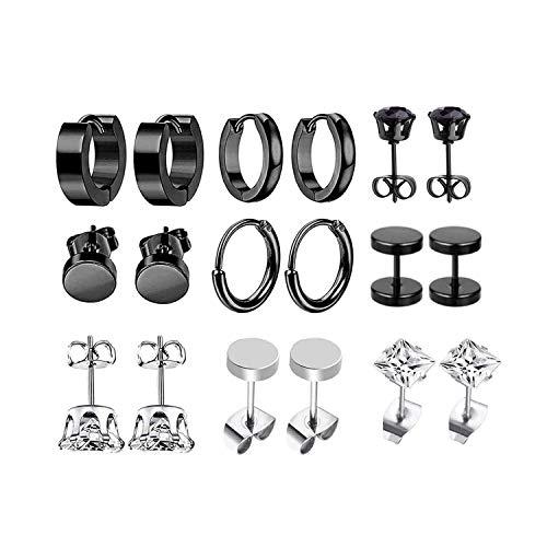 JZZJ 9 pares Pendientes de acero inoxidable Pendientes de aro pequeños Clásico Circón Pendientes de oreja Joyas Pendien()