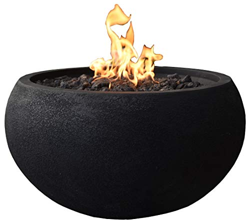 Modeno Outdoor York Fire Pit Table Grey Durable Round Fire Bowl Glass Fiber Reinforced Concrete Propane Patio Fire Place 27 Inches Electronic Ignition Cover and Lava Rock Included