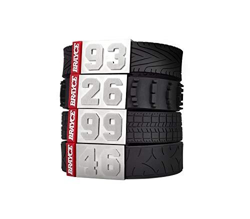 BRAYCE Bracciale Sport motoristici Numero 00-99 in Stile Pneumatico (battistrada, Pneumatico da Corsa, Motocross, Motocicletta)
