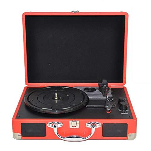 Xu-music Diffusoren voor platenspeler, 3-speed draagbaar, vinyl LP speler-aansluiting voor stereo koptelefoon AUX/RCA Line out Vintage Vinyl Record, Rood