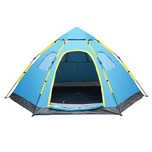 Family Tent Double Doors Waterproof UV-Protective Tent 5-8 People Family Outdoor Instant Camping Tent Automatic Pop Up Tent Beach Canopy Pop-Up Tents ( Color : Blue , Size : 120 x 94.5 x 57inch )