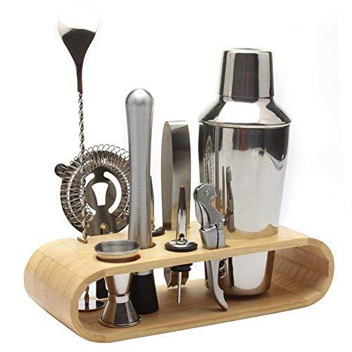 LZLWL Cocktail-Make-up aus Edelstahl-rostfrei und rostfrei-schlanker Bambusboden-Geschirrspüler sauber und sicher-Perfektes Barkeeping-Kit für zu Hause,550ml