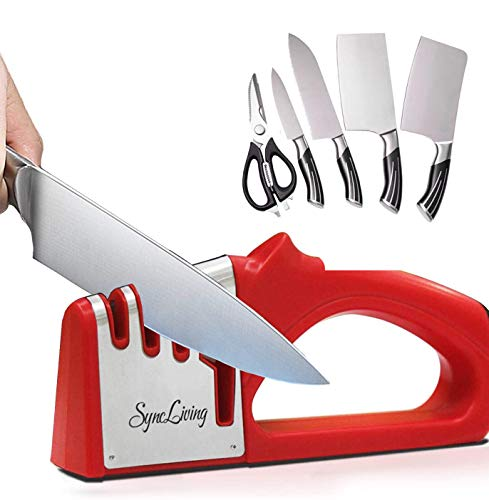 Sync Living Knife and Scissor Sharpeners,4 Stage Knife Sharpener, 4-in-1...
