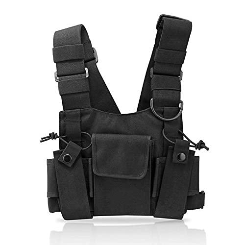 WEFH Chaleco Militar de Nailon, riñonera para el Pecho, riñonera táctica para walkie Talkie, Color Negro
