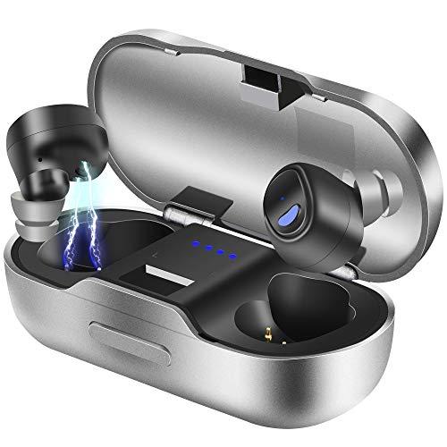Bluetooth Kopfhörer, BEVA Kabelloses Headset in Ear Bluetooth 5.0 Headset True Wireless Kopfhörer IPX7 Wasserdicht Sport Kopfhörer mit Ladekästchen und Integriertem Mikrofon für iOS Android (Schwarz)*