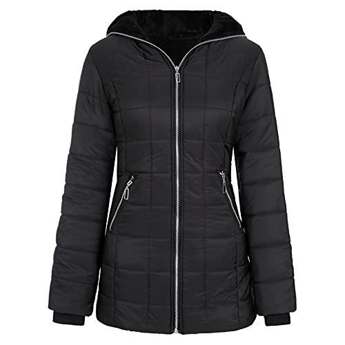 Chaqueta de plumón para mujer, de invierno, cálida, cuello alto, con cremallera, sudadera con capucha, monocolor, chaqueta larga de invierno, parka con capucha, parka cálida