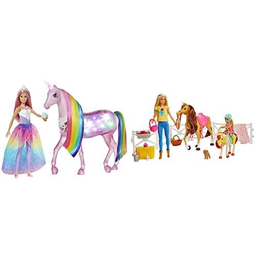 Barbie Dreamptopia Muñeca con Pelo Rosa Y Su Unicornio Luces Mágicas ,Embalaje Sostenible + Muñecas Y Chelsea con Caballos Y Accesorios, Regalo para Niñas Y Niños 3-9 Años, Embalaje Sostenible