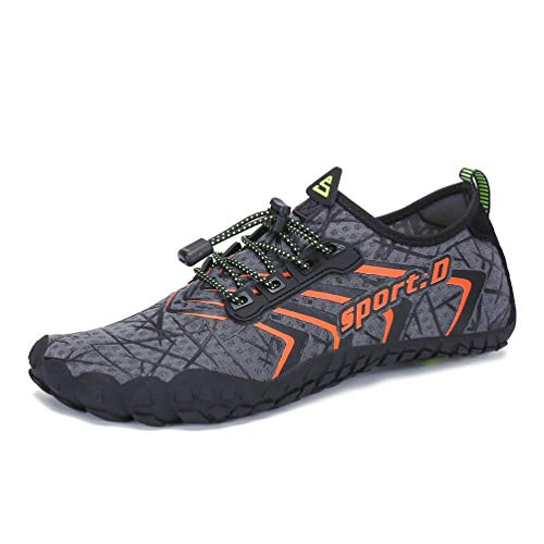 UBFEN Water Shoes Aqua Shoes Swim Shoes Mens Womens Beach Sports Quick Dry Barefoot for Boating Fishing Diving Surfing with Drainage Driving Yoga Size 12 Women / 10 Men A Grey Orange