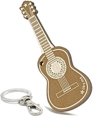 LIKY ® Guitarra acustica - Llavero Original de Madera Grabado Regalo para día del Padre Mujer Hombre cumpleaños pasatiempo Colgante Bolso Mochila