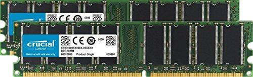 Crucial 2 GB Kit (2 x 1GB) DDR PC3200 UNBUFFERED Non-ECC 184-PIN DIMM