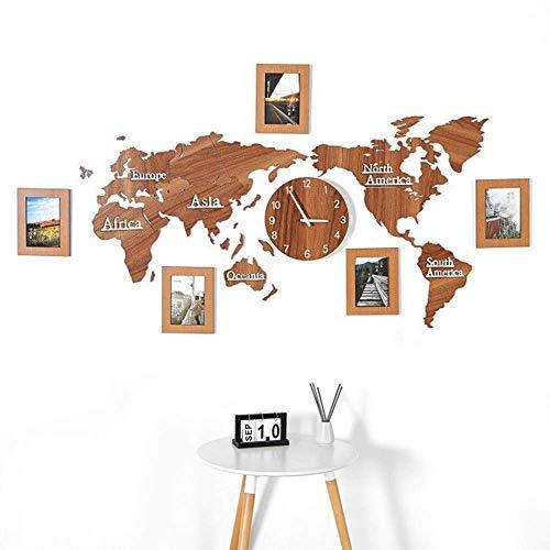 Reloj de pared decorativo, diseño de mapa del mundo, gran reloj con marcos de fotos de madera, decoración creativa para el hogar, sala de estar, dormitorio, oficina, 1,3 m, color marrón