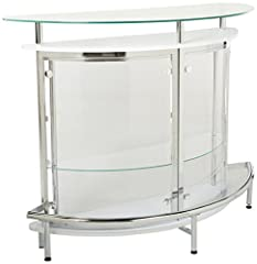 Includes: One (1) bar unit Top-grade smoked acrylic panels Heavy duty steel frame powder coated in black with chrome electroplated footrest Black tempered glass top and shelf Built-in stemware rack Materials: Steel, acrylic, and glass Weight Limit: 3...