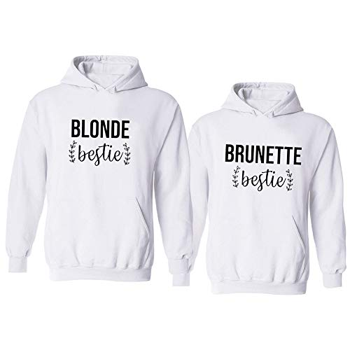 Soul Couple Matching Best Friends Hoodies for 2 Girls BFF Pullover Sweaters Blonde Brunette Sweatshirts White