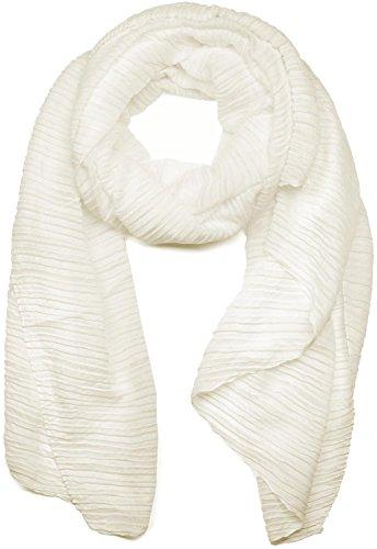 styleBREAKER gekreppter unifarbener Schal, Crash and Crinkle, Tuch, Plissee, Damen 01016107, Farbe:Weiß (Creme-Weiß)