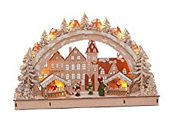 LED wood candle arch 45x28 cm - motif Christmas market - illuminated arc window decoration