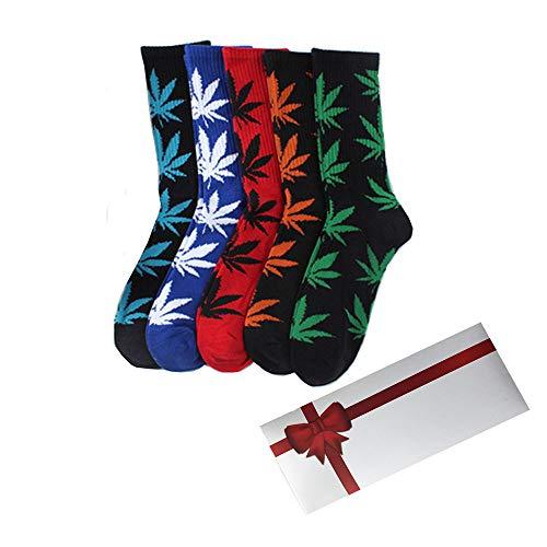 TTD 5 Packs Unisex Weed Leaf Printed Cotton Socks Maple Leaf Printed Socks With Gift Box Athletic Sports Marijuana High Crew Socks