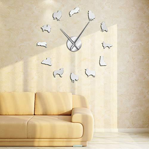 Sheltie Collie - Reloj de pared de cuarzo silencioso, diseño de perro Shetland Sheepdog Big Time (plateado, 37 pulgadas)