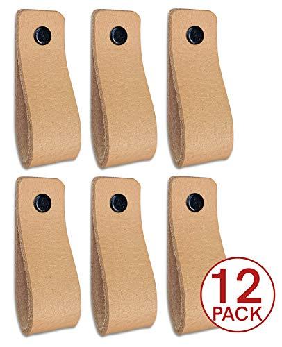 Tiradores de piel para muebles naturales, 12 unidades, para armarios, cocina y puertas, se envía con tornillos en 3 colores