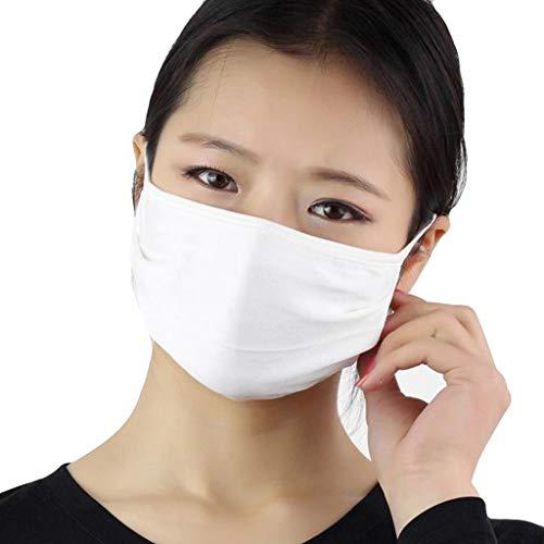 AmyGline Unisex Baumwoll-Maske-Mundschutz,3 Stück,doppelschichtig,Seide,atmungsaktiv,Anti-bakteriell, Sonnenschutz,kälte-und staubdicht,Grau,weiß (3PC, Weiß)