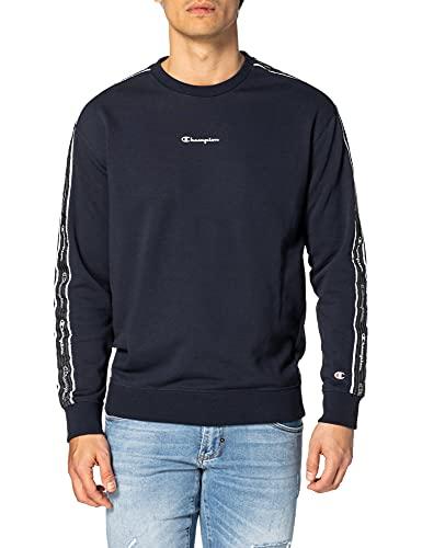 Champion Seasonal American Tape Crewneck Sweatshirt Felpa, Blue, XXL Uomo