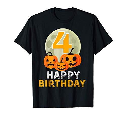 Feliz cuarto cumpleaños niño niña Halloween Camiseta
