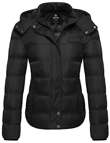 Womens Winter Insulated Black Puffer Jacket with Removable Hood