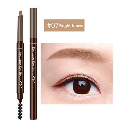 Eyebrow Pencil,ROMANTIC BEAR Crayon a Sourcils Automatique Impermeable a l'Eau Tache Crayon a Sourcils Longue Duree avec Brosse pour Filles Femmes Novice