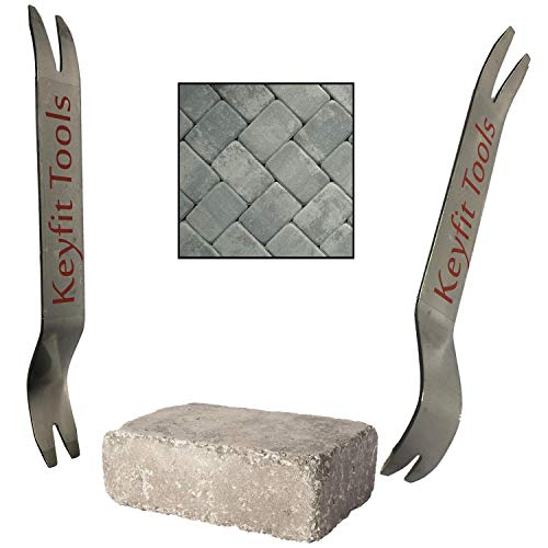 Keyfit Tools Paver Puller Stainless Steel (2PC Set) Paver Extraction Removal Raise Sunken Brick & Pavers Locked by Edging & Other Stones Repair & Replace pavered Patio Blocks