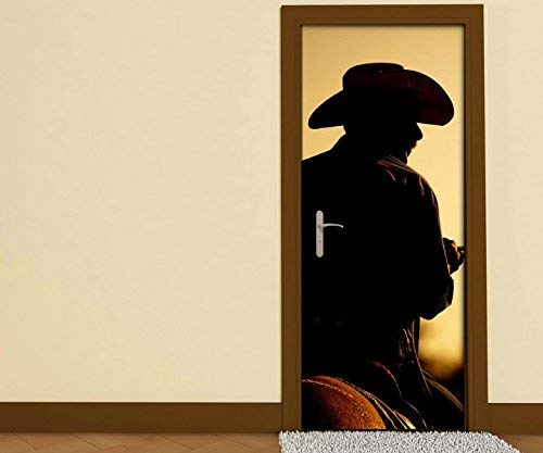 Türaufkleber Cowboy Rodeo Hut Pferd braun Mann Tür Folie Bild Türposter Türfolie Türtapete Türbild selbstklebend bunt Druck Aufkleber sticker 15B027, Türgrösse:90cmx200cm