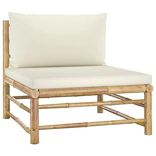 vidaXL Sofá Central para Jardín con Cojines Asiento Silla Sala de Estar Salón Terraza Patio Exterior Balcón Estable Bambú Blanco Crema