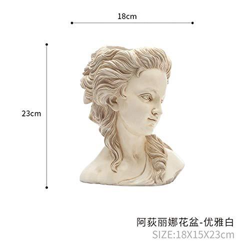 Adilina hoofd sculptuur bloempot imitatie gips figuur schets bonsai retro woondecoratie ornamenten, wit