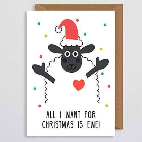 Kerstkaart voor vriendin - Alles wat ik wil voor Kerstmis is Ewe - Schapen - Vriendin Kerstkaart - Vrouwenkaart - Leuke Dierenkaart - Kawaii - Pun Card Joke Card - Partner - Koppels - Vrouw kerstkaart