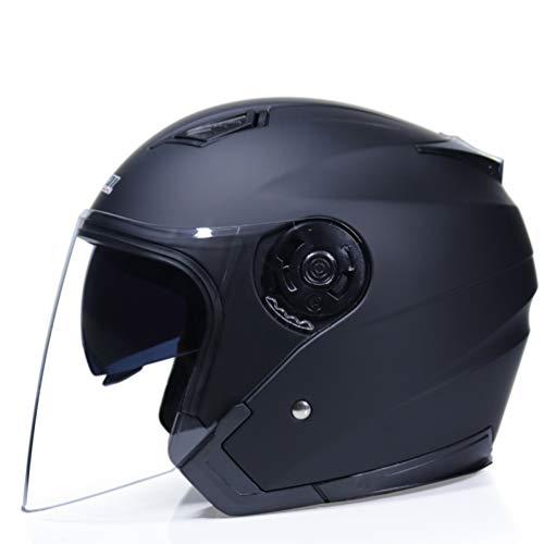 OLEEKA Casco de doble visor Motocicleta Cara abierta Proteger los ojos y la cara Moto Racing Motocicleta Cascos antiguos