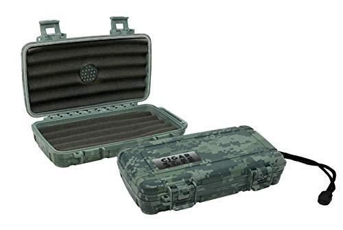 Prestige Import Group Cigar Safe Waterproof Travel Cigar Humidor Case - Holds up to 5 Cigars - Color: Black