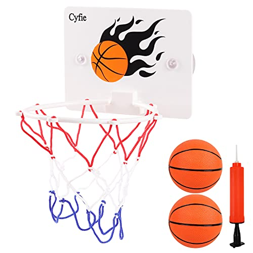 Cyfie Bath Toys for Toddler, Suction Cup Basketball Hoop for Boys Girls, Kids Bathtub Basketball Hoops with 2 Balls & Pump for Indoor Office Desk Games