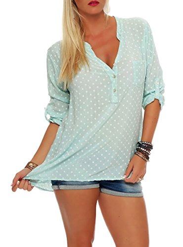 Malito Damen Bluse mit Punkten | Tunika mit ¾ Armen | Blusenshirt auch Langarm tragbar | Elegant - Shirt 3419 (Mint)