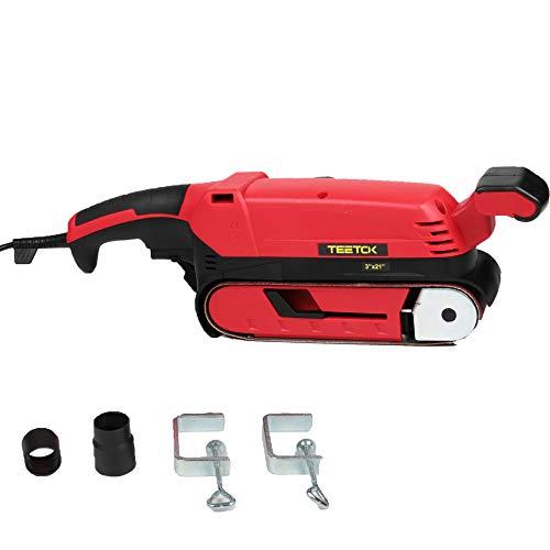 900W Electric Handheld Power Sander, Electric Belt Sander Sanding Belt 75 x 533mm with Dust Extraction Box Sanding Clamp