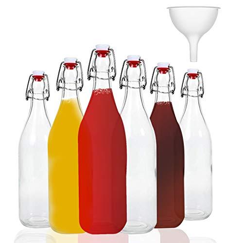 Glasflasche mit Bügelverschluss 'Giara' 6 teilig | 6 Bügelflaschen - Füllmenge je Flasche 1000 ml (1L) | Ideal als Einmach-, Schnaps-, Likör-, Öl-, Saftflaschen oder einfach wasserflasche glasflasche