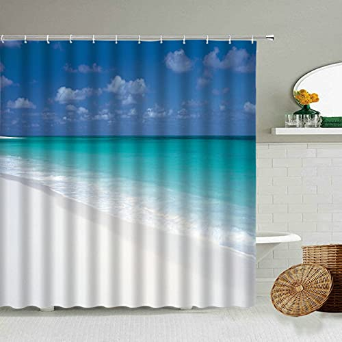 AETTP Cielo Azul Nubes Blancas Olas del océano Cortina de Ducha de Playa Estilo nórdico Fondo de fotografíaBaño Bañera Pantalla Impermeable 180x180cm