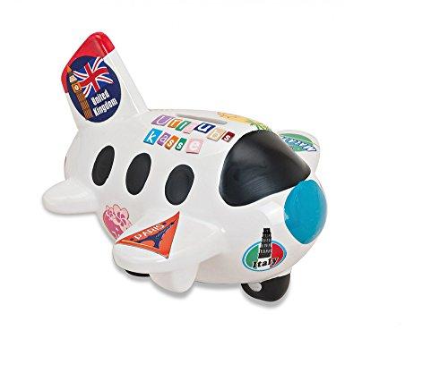 Weiße Spardose in Flugzeug-Form | Sparbüchse perfekt als Reisekasse geeignet | Urlaubsflieger mit bunten Urlaubsstickern | abschließbares Sparschwein mit Schlüssel & Schloss | Tolle Geschenk-Idee